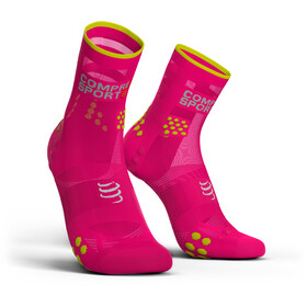 Compressport Pro Racing V3.0 Ultralight Run High Socks, fluo pink